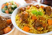 Arabic rice, Ramadan food in middle east usually served with tandoor lamb. Middle eastern food. poster