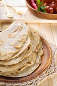 Chapati or chapatti, Indian chicken curry, popular Indian food. poster