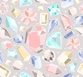Seamless pastel diamonds pattern. Background with colorful gemstones. poster