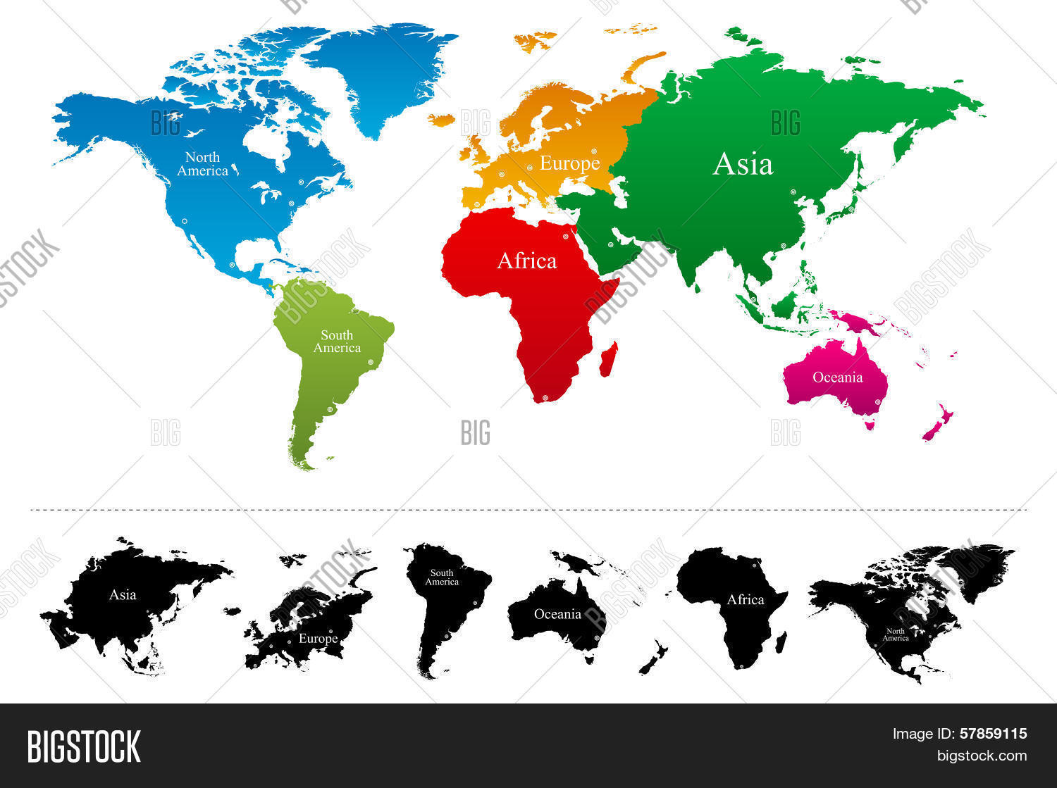 Vector y foto world map colorful continents atlas bigstock world map with colorful continents atlas gumiabroncs Choice Image
