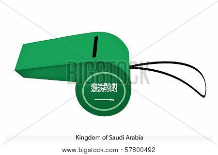 A Green Field with The Shahada Inscription and A Sword in White of The Kingdom of Saudi Arabia Flag on A Whistle The Sport Concept and Political Symbol.. poster