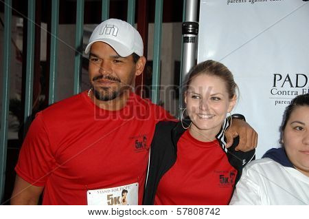 Amaury Nolasco and Jennifer Morrison  at the Padres Stand For Hope 5k Charity Run-Walk. Los Angeles Memorial Coliseum, Los Angeles, CA. 03-21-09