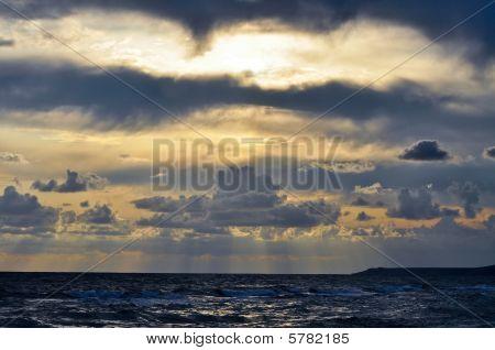 Sunrise At Black Sea In Dark Sky