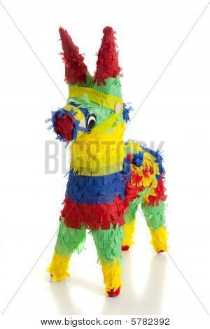 A traditional primary colored Mexican party pinata on a white background poster