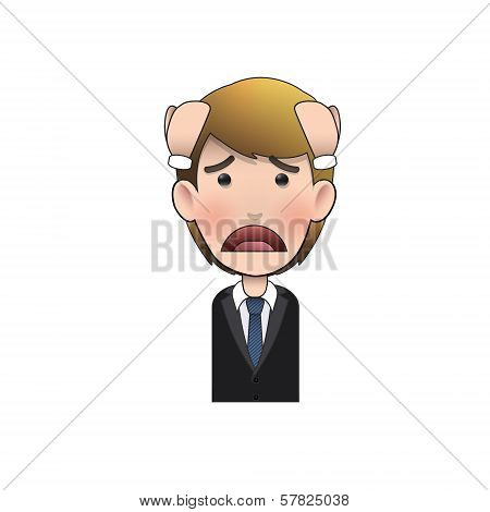 Sad Businessman Over White Background. Vector Design