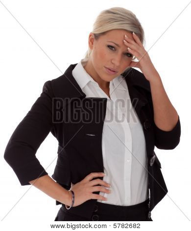 Attractive Stressed-out Businesswomen isolated on white