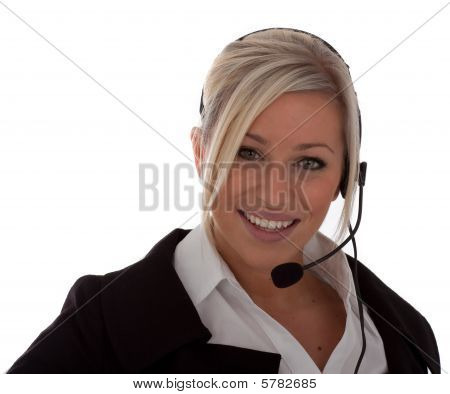 An Attractive Young Call-center Operator isolated white