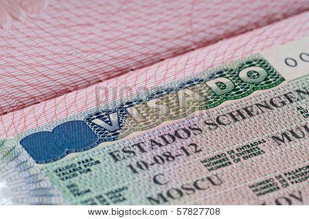 shot of few passport with Schengen visa