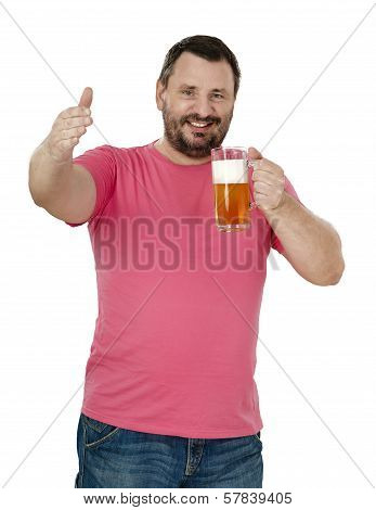 Smiling Bearded Man Inviting To Beer Fest