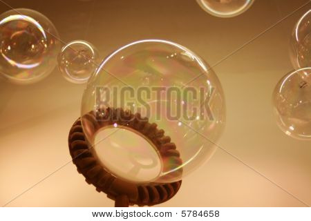 Glass Bubbles blown from a child