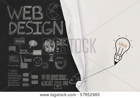 Pencil Lightbulb Draw Rope Open Wrinkled Paper Show Web Design Icons As Concept