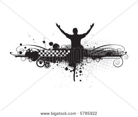 man raising his hands