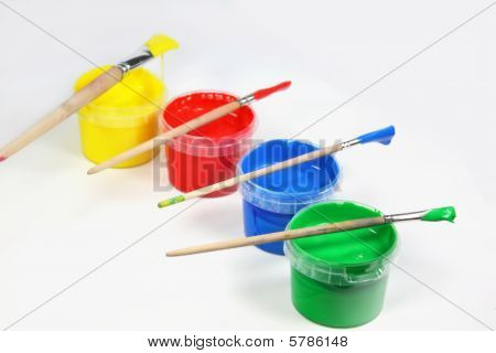 Four Colour Cans with Brushes
