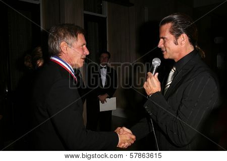 Harrison Ford and Lorenzo Lamas at the 6th Annual 'Living Legends of Aviation' Awards Ceremony. The Beverly Hilton Hotel, Beverly Hills, CA. 01-22-09