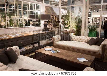 Living Room On Display At Homi, Home International Show In Milan, Italy