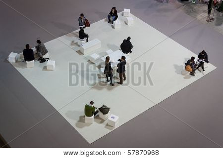 Top View Of People Visiting Homi, Home International Show In Milan, Italy