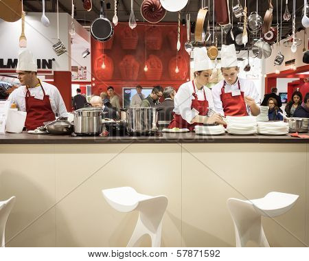 Young Cooks Work On Their Recipes At Homi, Home International Show In Milan, Italy
