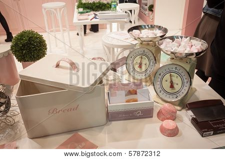 Sweets And Vintage Scales At Homi, Home International Show In Milan, Italy