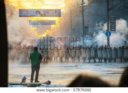 A Row Of The Riot Police With A Priest At Hrushevskogo Street In Kiev