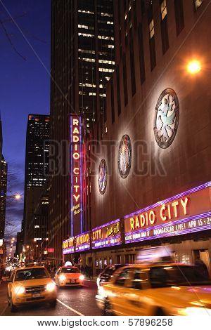 Night Shot Of Radio City Music Hall