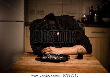 Sad Bachelor Eating Alone