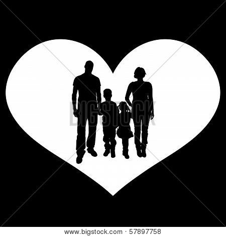 vector illustration with family silhouettes