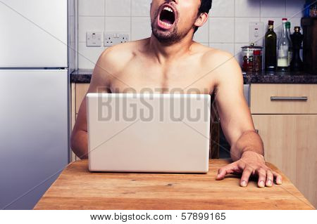 Young Naked Man Watching Porn In His Kitchen