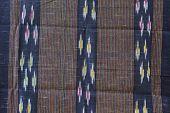 Hand-woven fabrics in Thai-pattern designs. handmake closeup poster