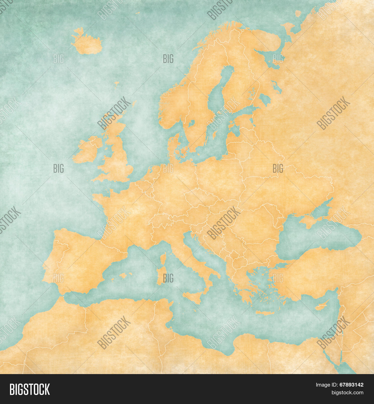 Blank Map Of Europe The Is In Vintage Summer Style And Sunny Mood