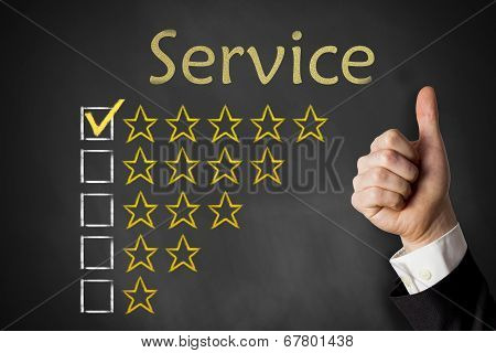 thumbs up service golden rating stars on chalkboard poster
