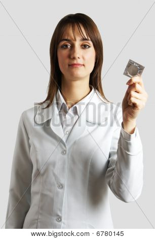 pharmacist with condom