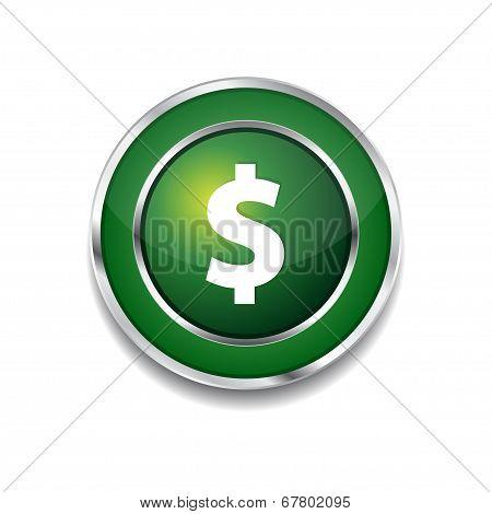 Dollar Currency Sign Circular Green Vector Web Button Icon