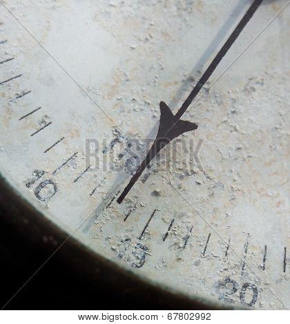Meter Needle Old Barometer Closeup