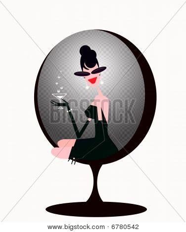 stylish  woman drinking martini