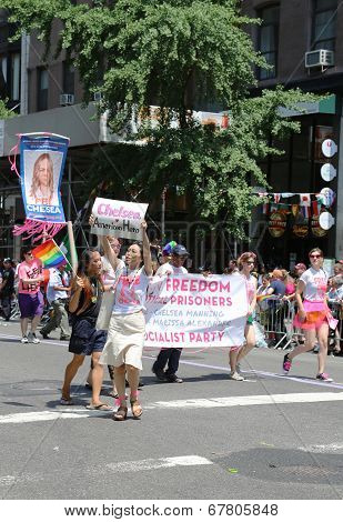 Amnesty International group demanding freedom for Chelsea Manning  during  LGBT Pride Parade in NY