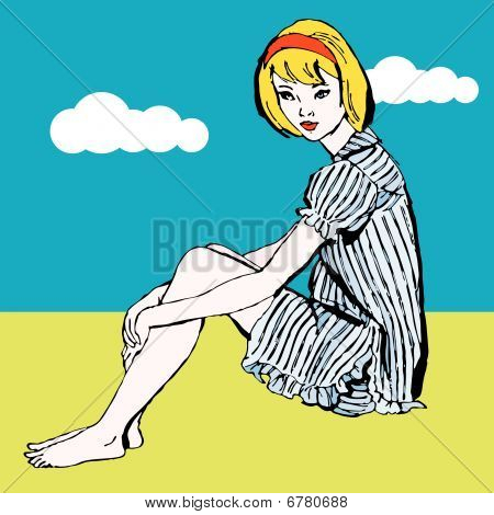 Dreaming pop art girl