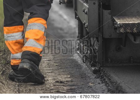Construction and repair of the highway. Conceptual image poster