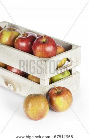 Wooden Box Of Fresh Apples