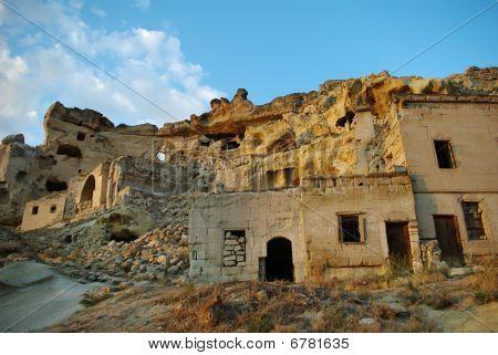 Half-ruined Rocky Houses In Cappadocia