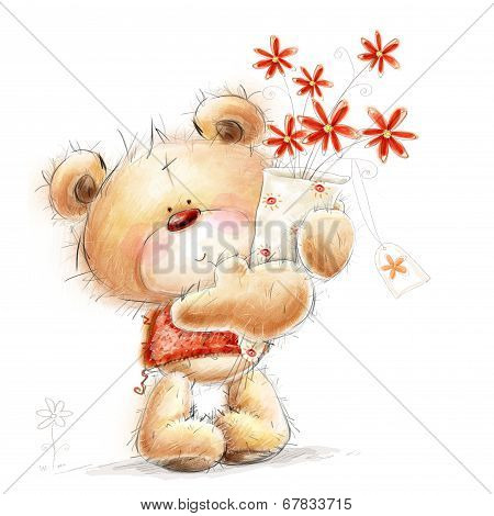 Cute Teddy bear with the red flowers. Love design.I love you. Birthday greeting card.