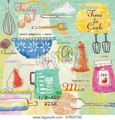 Seamless pattern with kitchen items.Stylish design elements:fork, spoon, bowl, mixer, lemon, knife