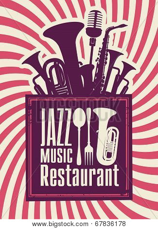 menu for the restaurant with jazz music and winds poster