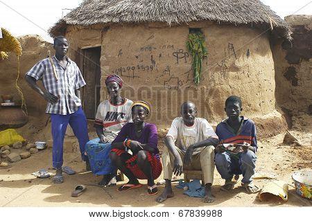 A Family Of People Of Burkina Faso Kokemnoure
