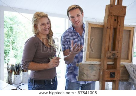 Woman Attending Painting Class