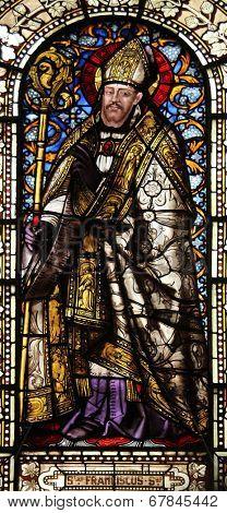 PARIS, FRANCE - NOV 10, 2012: Saint Francis de Sales, stained glass, Saint-Vincent-de-Paul Church (design Jean-Baptiste Lepere, was built during 1824 - 1844) dedicated to Saint Vincent de Paul