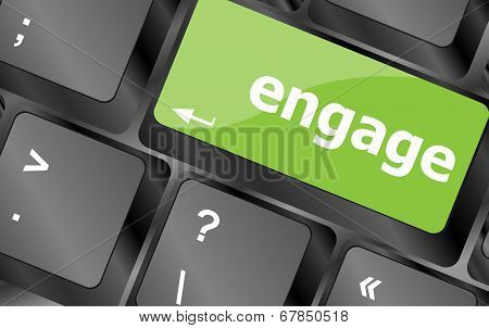 Engage Button On Computer Pc Keyboard Key