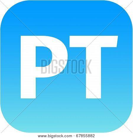 Blue Pt Icon - Portuguese Language Sign Icon. Pt Portugal Translation Symbol.