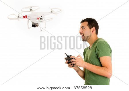 young man with quadcopter drone