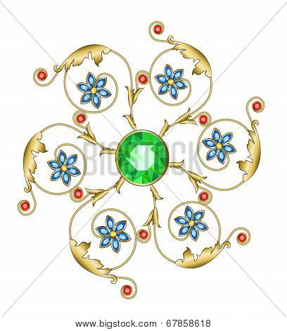 Golden brooch in the shape of a flower with emerald sapphires and rubies poster
