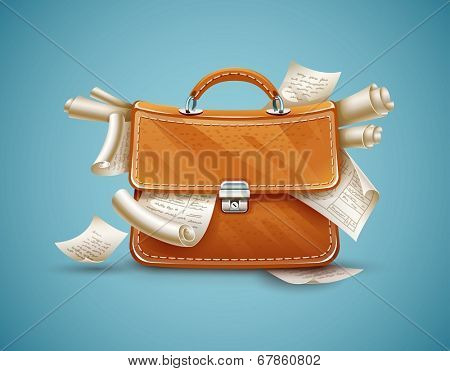 Leather briefcase of busy businessman full of papers and documents. Eps10 vector illustration